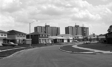 North York suburbs with high-rise apartments in background. City of Toronto Archives, Fonds 217.