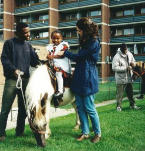 Horse riding - Jennifer (right) pictured with her husband Olu, left.